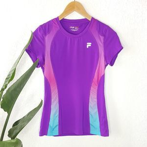 FILA Purple Inset Ombre Workout T-Shirt XS